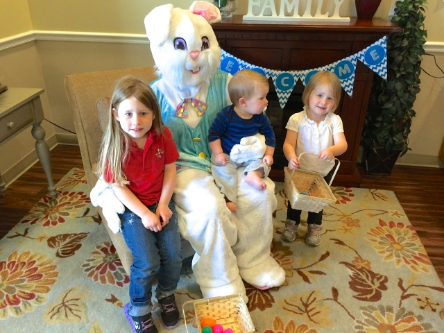 My three kids with the creepy Easter Bunny at their daycare.